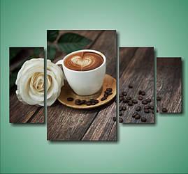 """Модульная картина """"Кофе и роза""""  (800х1240 мм)  [4 модуля]"""