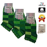 Носки женские хлопок короткие зеленые с разноцветным геометрическим узором Ж-100013