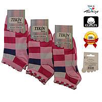 Носки женские хлопок короткие розовые с разноцветным геометрическим узором Ж-100015