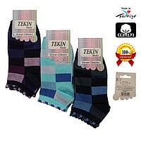 Носки женские хлопок короткие ассорти цветов с разноцветным геометрическим узором Ж-100017