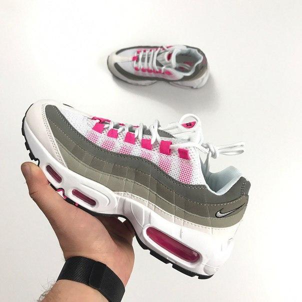 Женские кроссовки Nike Air Max 95 Grey Pink топ реплика
