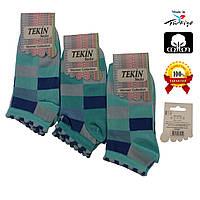 Носки женские хлопок короткие голубые с разноцветными геометрическими узорами Ж-100019