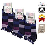 Носки женские хлопок короткие фиолетовые с разноцветным геометрическим узором Ж-100020