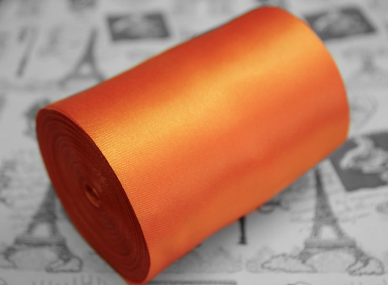 Лента атласная оранжевая (ширина 10см, намотка 20м)