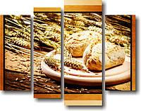 """Модульная картина """"Модульная картина для кухни """"Свежий хлеб""""  (700х890 мм)  [4 модуля]"""