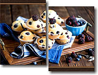 "Модульная картина ""Кексы с ягодой""  (550х720 мм)  [2 модуля]"
