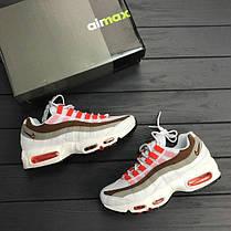 Женские кроссовки Nike Air Max 95 white\brown топ реплика, фото 2