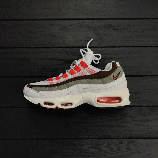 Женские кроссовки Nike Air Max 95 white\brown топ реплика