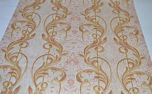 Обои на стену, вензель, дворцовый, бежевый, светлый, бумажные, B27,4 Локон 6484-01, 0,53*10м, фото 3