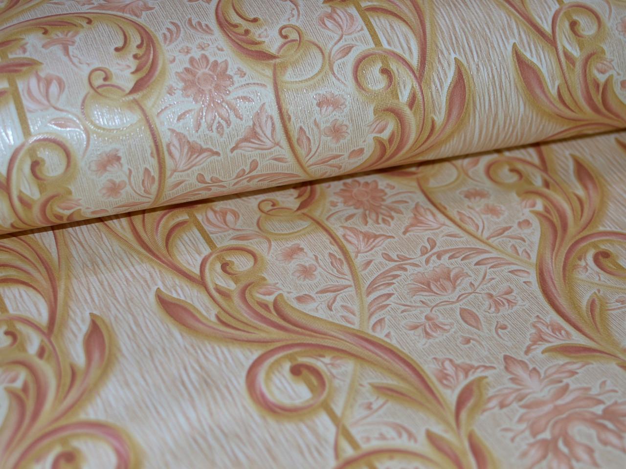 Обои на стену, вензель, дворцовый, бежевый, светлый, бумажные, B27,4 Локон 6484-01, 0,53*10м