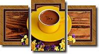 "Модульная картина ""Желтая чашка с кофе""  (450х850 мм)  [3 модуля]"