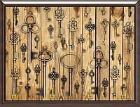Ключница декоративная ключи на деревянном фоне