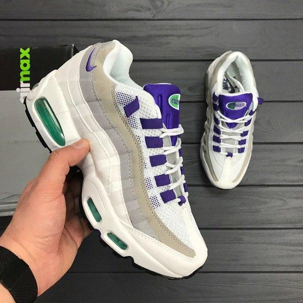 Женские кроссовки Nike Air Max 95 white purple топ реплика, цена 1 ... d2ae05eb6a2