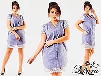Женское короткое льняное платье больших размеров с кружевом