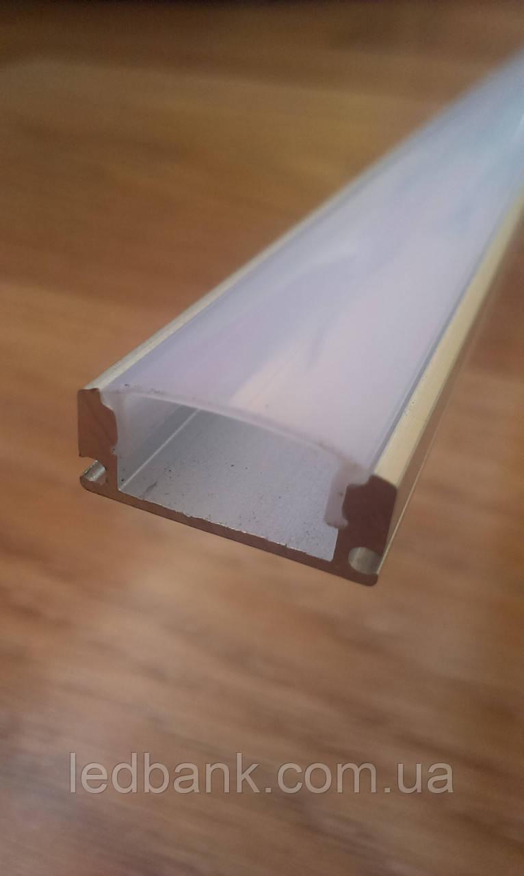 Накладной алюминиевый профиль для светодиодных лент с рассеивателем LED-08