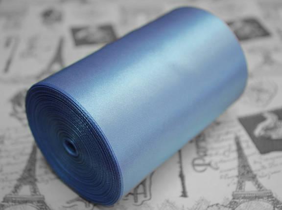 Лента атласная голубая (ширина 10см, намотка 20м), фото 2