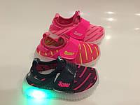 Детские светящиеся кроссовки для девочек оптом Размеры 21-26