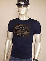 """Стильная мужская футболка """"ORIGINAL"""" темно-синяя"""