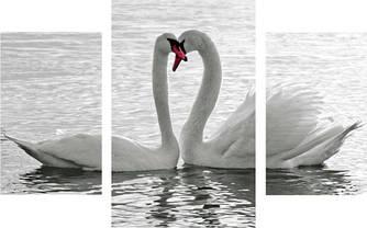"""Модульная картина """"Лебеди""""  (700х1120 мм)  [3 модуля]"""