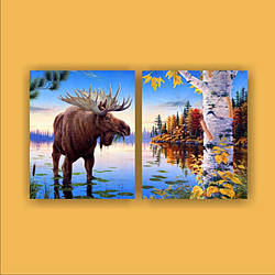 """Картина модульная """"Лось у озера""""  (950х560 мм)  [2 модуля]"""