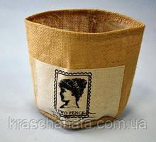 Чехол для кашпо, мешковина,13х15 см, декоры для дома, Днепропетровск