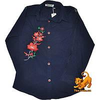"""Детская блузка с яркой вышивкой """"Цветы"""" , длинный рукав , для девочек (9-12 лет) 4 ед. в уп."""