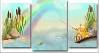 "Модульная картина ""Кот на рыбалке""  (800х1490 мм)  [3 модуля]"