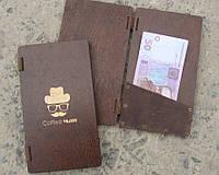 Счетница с карманом, дерево/натуральная кожа, логотип - на заказ, фото 1