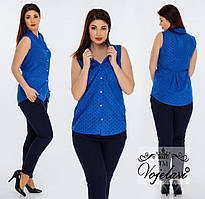 Яркая блуза с коротким рукавом (баталы) разные цвета
