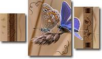 """Модульная картина """"Две бабочки на колоске""""  (400х710 мм)  [3 модуля]"""