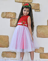 """Нарядное детское платье красное с белой фатиновой юбкой  """" Росинка"""""""