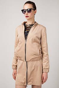 Куртка-бомбер из искусственной замши песочного оттенка с застежкой на молнии, хлопковая подкладка