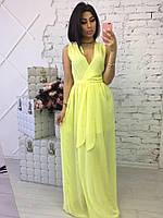 Желтое летнее платье в пол из шифона