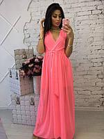 Длинное летнее розовое платье из шифона