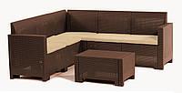 Комплект мебели из искусственного ротанга коричневый NEBRASKA Corner
