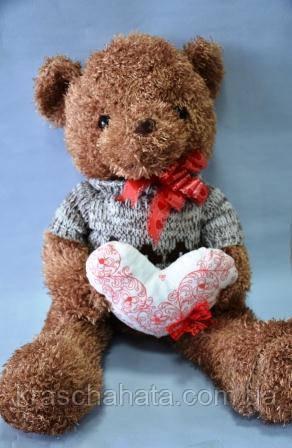 Ведмедик у светрі, м'яка іграшка, 65х37 см, плюш, Подарунки, Дніпропетровськ