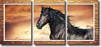 """Модульная картина """"Вороной конь""""  (370х820 мм)  [3 модуля]"""