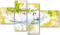 "Модульная картина ""Белые лебеди на озере""  (1100х1950 мм)  [3 модуля]"