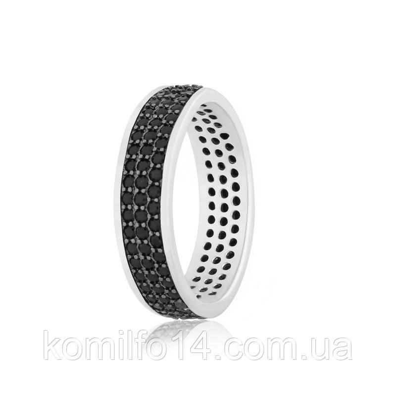 Серебряное кольцо с россыпью черных фианитов