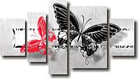 """Модульная картина """"Бабочки. Полиптих""""  (600х1080 мм)  [3 модуля]"""