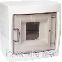 Купить бокс четырехместный для открытой установки с дверцей оптом и в розницу.Монтажный бокс для установки автоматических выключателей и т.п. с номинальным током не более 40 А, при температуре окружающей среды от -5 ºС до +40 ºС. Для размещения 4-х и менее электроаппаратов.