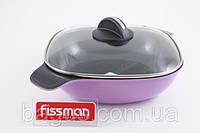 Кастрюля низкая алюминиевая 28 х 8 см / 4 л со стеклянной крышкой Fissman Diablo (AL-4685.28)