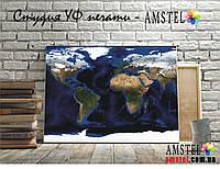 """Картина на холсте """"Карта мира со спутника"""" (ультрафиолетовая печать)"""