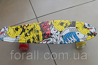 Скейт Пенни борд (Penny board) 820 с рисунком, свет