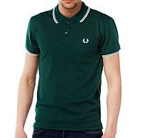 Мужская футболка polo Fred Perry с воротником зеленая (мужские футболки, молодежные, стильные, поло)