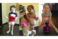 Спортивный костюм детский футболка и шорты лого Адидас, мама и дочка