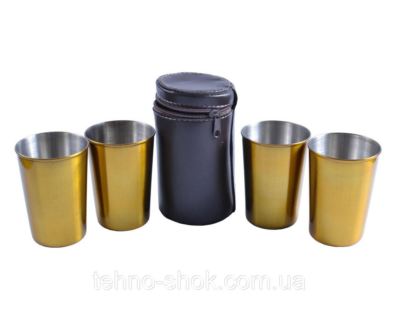 Походные рюмки из нержавеющей стали в чехле (Золото, 4шт,150мл)