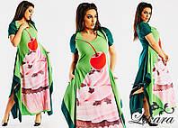 """Летнее зеленое платье - трапеция с принтом """"пироженное"""""""