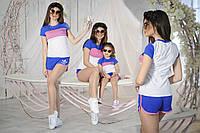 Спортивный костюм женский футболка и шорты лого Адидас, мама и дочка