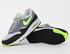 Мужские кроссовки Nike Air Max 87 серые с салатовым топ реплика